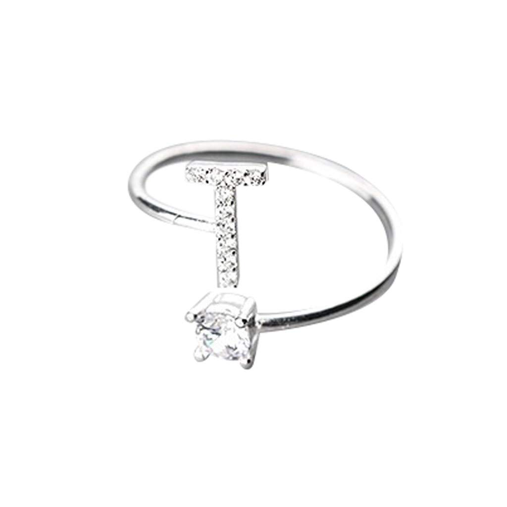 Clearance Initial Letter Rings Stackable A-Z Ring for Women Girls, Jiayit Personalized Initial Letter Rings Capital Letter Ring Charm Initial Band for Women (T)