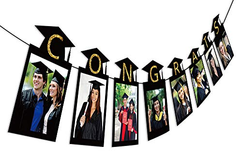 2019 Graduation Photo Banner Party Supplies - Congrats Grad Garland Decorations Favors 2PCS -
