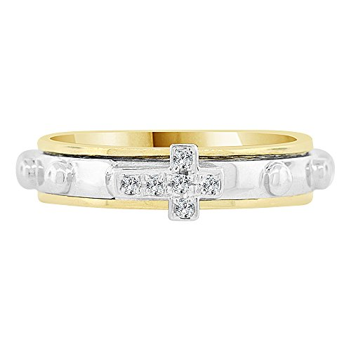 14k Yellow White Gold, Rosary Prayer Band Ring Cross Created CZ Crystals Size 5.5