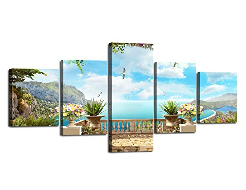 Modern European Landscape Ocean Painting 5 Panels Combination Set Wall Art Canvas Pictures for Home Decoration Living Room Bedroom Posters and Prints Gallery-wrapped Framed Stretched (50''W x 24''H)