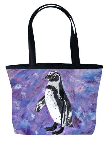 Penguin Shoulder Bag, Vegan Tote Bag - Animal Prints - From My Original Paintings - Support Wildlife Conservation, Read How (Southern Sweetheart - Penguin)