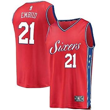 CHWNBA NBA Philadelphia 76ers Joel-Embiid 21 Fan Men Jersey (Rojo, XXL): Amazon.es: Deportes y aire libre