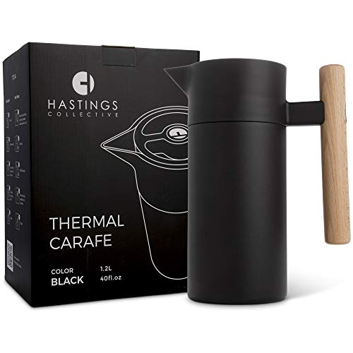 Stainless Steel Thermal Coffee Carafe - Double-Walled Vacuum Insulated Thermos and Beverage Pot - Compact, Travel-Size Strainer for Tea, Infused Drinks and Water - 40 Fl oz, Black by Hastings Collective (Image #1)