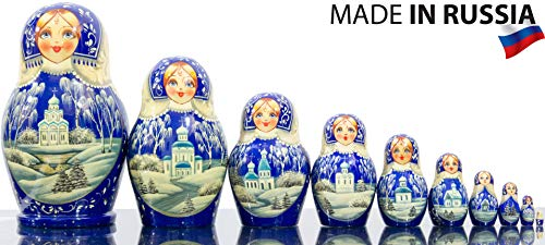 Russian Nesting Doll - Kirov - VJATKA - Hand Painted in Russia - Big Size - Wooden Decoration Gift Doll - Matryoshka Babushka (Style E, 8.25``(10 Dolls in 1)) by craftsfromrussia (Image #4)