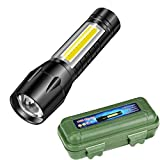 LED Tactical Flashlight Rechargeable, 3 Modes Mini CREE LED Handheld Flashlights Portable Outdoor Torch Ultra Bright Tactical with Rechargeable Batteries for Night, Fishing, Hiking, Emergencies