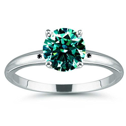 RINGJEWEL 1.50 ct Si1 Round Real Moissanite Solitaire Engagement & Wedding Ring blue Green Size 7