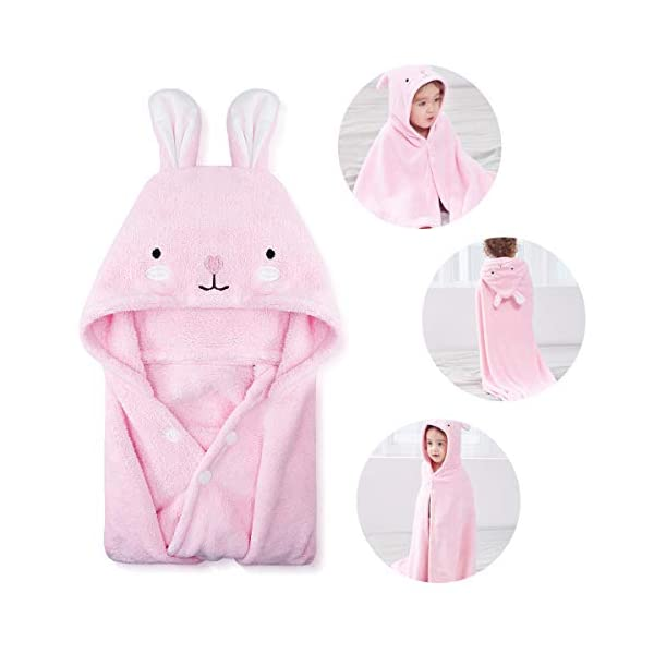 Baby Hooded Towel Boys girls Gift Soft Baby Bath Towel Coral for Infant Toddler 35 X 35 in fleece Absorbent Washcloth