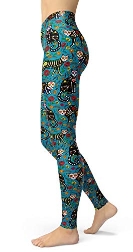 sissycos Women's Candy Skull Printed Leggings Ultra Soft Ankle Length Elastic Tights (Skull Cat Blue, Plus Size(L-2XL/Size 12-24))]()