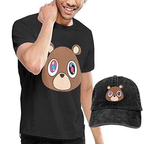Kanye West Bear Men's Round Neck Short Sleeve Shirts Black S And Cowboy Hat Black S (West Bear Kanye Shirt)
