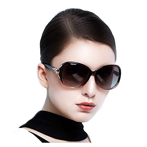 Oversize Women Sunglasses Polarized UV Protection Shades Lens (Brown)