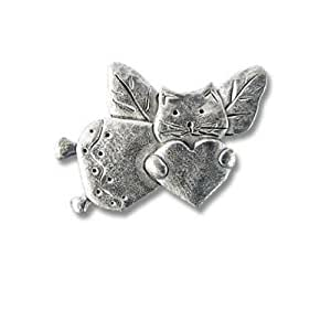 Pewter Cat Angel Lapel Pin by The Magic Zoo