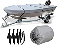 Waterproof Boat Cover, 210D Marine Grade Heavy Duty Trailerable Runabout Boat Cover, Durable and Tear Proof, A