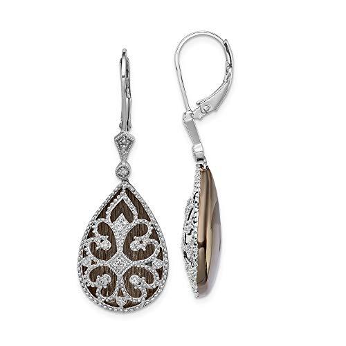 925 Sterling Silver Diamond Filigree Teardrop Leverback Earrings Lever Back Drop Dangle Fine Jewelry Gifts For Women For Her