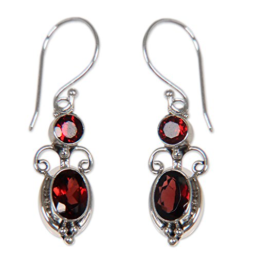 NOVICA Garnet and .925 Sterling Silver Dangle Earrings, Crown Princess' (2.5 cttw)