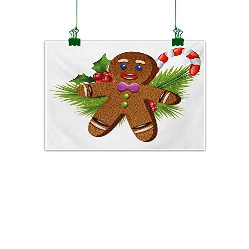 Gingerbread Man,Abstract Art Cute Tasty Pastry on Coniferous Branches Candy Cane and Holly Berry Photo Canvas PaintingBrown Green Red W 32