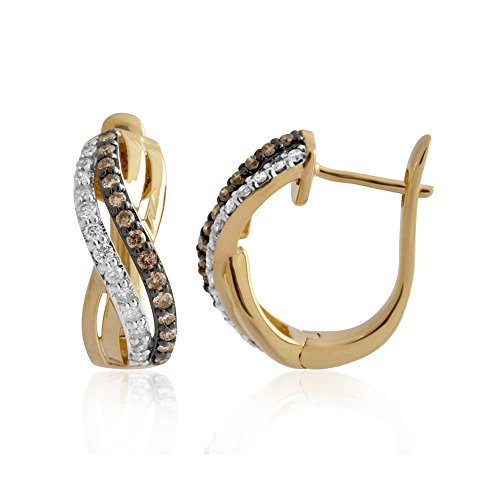 [10K Yellow Gold Criss-Cross White and Brown Hoop Diamond Earrings ( 1/2 Carat )] (All White Party Outfit Ideas)