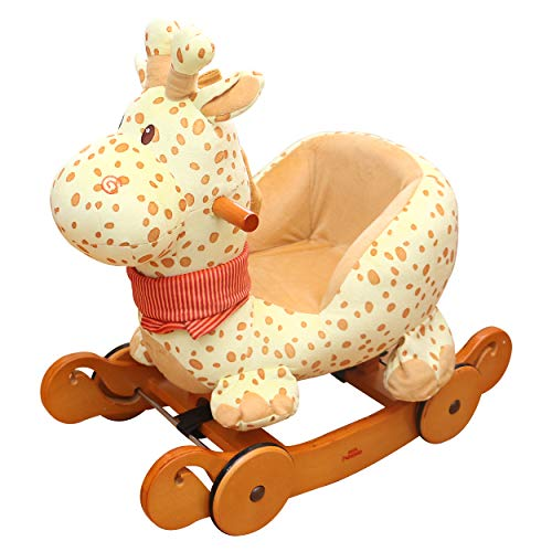 Hessie Modern Plush Rocking Horse with Soft Cute Stuffed Animal, Indoor Ride On Toys Rockers with Wheels for Toddlers Kids Little Boys & Girls (6-36 Months) - Padded Yellow Giraffe with Sound Paper ()