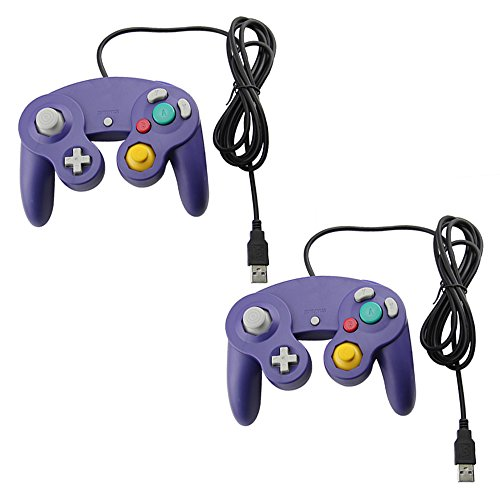 2 Gamecube Style USB Wired Controllers for Emulator PC and Mac-Classic Nintendo GC Gamecube PC Wired Gamepad by MarioRetro - Purple