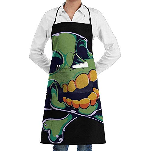 Yohafke Grill Aprons Kitchen Chef Bib Green Happy Halloween Skull Kitchen Cooking Aprons with 2 Pockets for Women and Men-Adjustable Neck Strap Apron