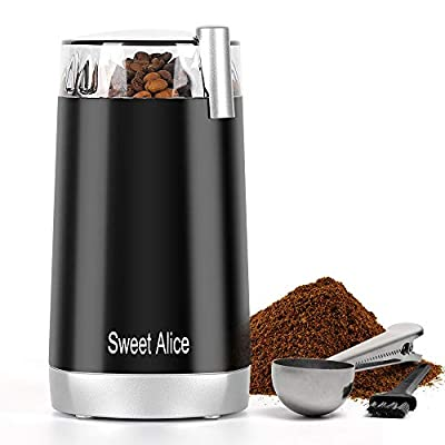 Sweet Alice Coffee Grinder One Touch Design with Brush 1.5 oz Multifunctional Spice Grinder with Stainless Steel Blades Portable Use Ideal Gift