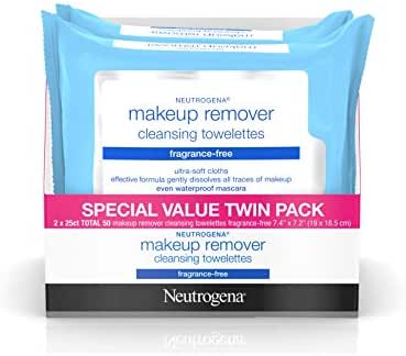 Neutrogena Cleansing Fragrance Free Makeup Remover Facial Wipes, Daily Cleansing Facial Towelettes for Waterproof Makeup, Alcohol-Free, Value Twin Pack, 25 Count, 2 Pack
