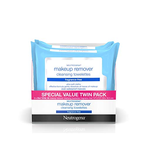 Neutrogena Cleansing Fragrance Free Makeup Remover Facial Wipes, Daily Cleansing Facial Towelettes for Waterproof Makeup, Alcohol-Free, Value Twin Pack, 25 Count, 2 Pack from Neutrogena