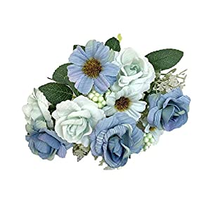 AKIMPE Artificial Fake Flower Faux Greenery DIY Decorations Forever Petals Long Stem Vine Preserved Gift for Wedding Party Home Birthday Garden Her Women Sky Blue 24