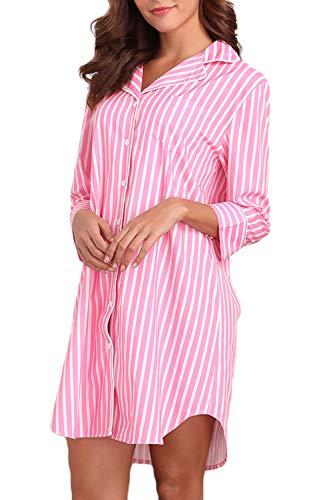 Memory baby Womens Boyfriend Sleep Shirt Dress Striped Button Down Cotton Nightgown Pajama Duster S-XXL
