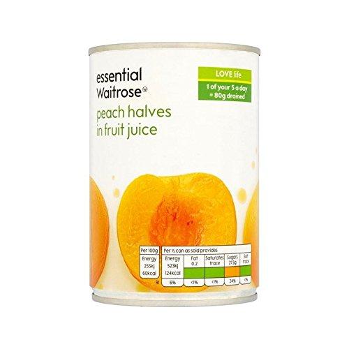 Peach Halves in Fruit Juice essential Waitrose 410g - Pack of 4