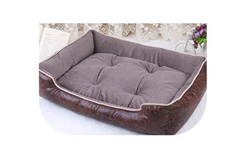 Luxury Leather Dog Beds Waterproof Cozy Pet Dog Basket Cat Kennel Removable Mattress for Puppy Big Animals Bulldog Teddy,Dark Kakhi,XL