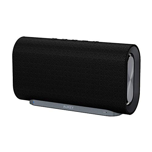 AUKEY Eclipse Wireless Speaker 20 W with 12 Hours Playtime, Enhanced Bass with Dual Passive Radiators/Subwoofers and Woven Fabric Surface for Echo Dot, Android Phones and More