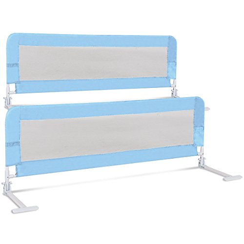 Costzon Toddlers Double Bed Rail Guard, Stainless Steel Folding Safety Bed Guard, Swing Down Bedrail for Convertible Crib, Kids Twin, Double, Full Size Queen & King, Set of 2 (Blue, 59-inch) by Costzon