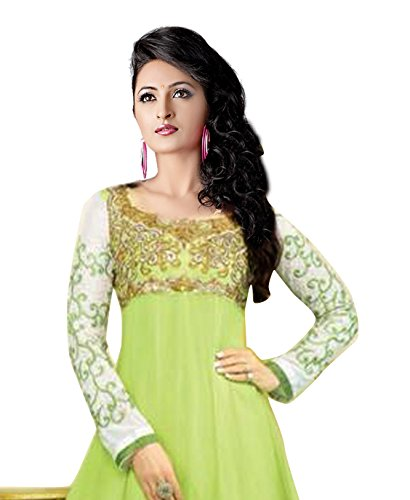 Clickedia Women's Faux Gorgette Semi Stitched Anarkali Suit One Size Green- Dress Material