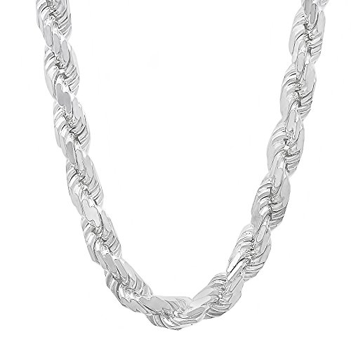 Men's 7.5mm .925 Sterling Silver Diamond-Cut Twisted Rope Chain Necklace