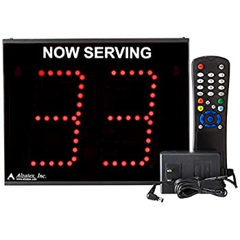 Image of Alzatex 2-Digit Take-a-Number Display with 2 Buttons and Infrared Remote Store Signs & Displays