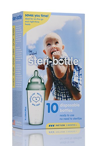 Steribottle Ready to Use Disposable Baby Bottles, 10-Count (Sterile Bottles Non)
