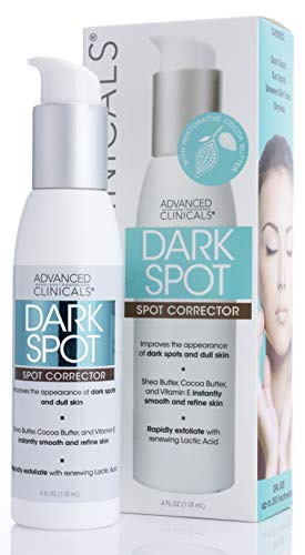 Advanced Clinicals Dark Spot Cream Corrector with Shea Butter and Hyaluronic Acid. Anti-Aging cream targets Dark Spots, Age Spots and uneven skin tone. Large 4oz bottle with pump.