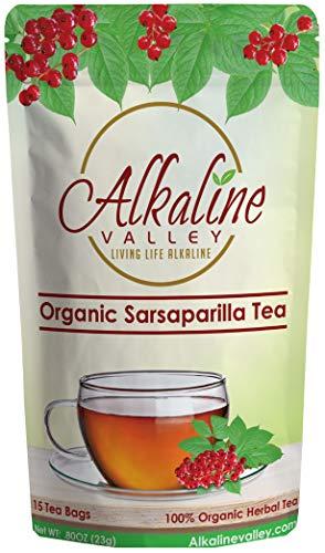 Sarsaparilla Tea - 100% Organic and Alkaline - 15 Unbleached/Chemical-Free Sarsaparilla Tea Bags - Caffeine-Free, No GMO