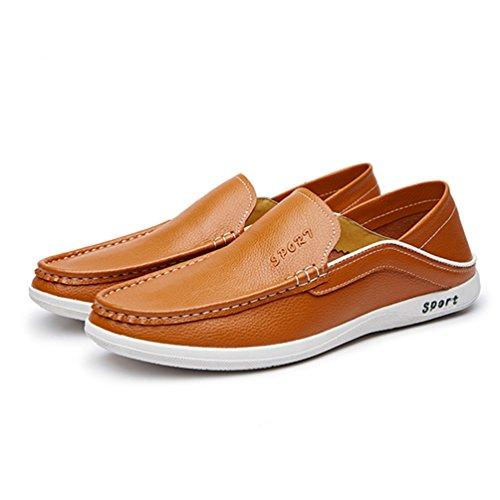 XIGUAFR Chaussure en Cuir Homme Printemps Légère Souple Chuassure de Ville Casual Respirante jaune brun pRoMEdUwF