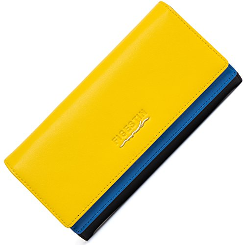 Yellow Genuine Leather ([Clearance] FIGESTIN Women Rfid Blocking Cowhide Leather Wallet With Zipper Large Capacity Credit Card Holder Evening Clutch Purse)