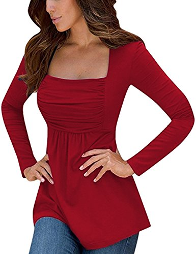 Yesfashion Womens Square Neck Ruched Tops Empire Waist Tunics Long Sleeve Burgundy XL
