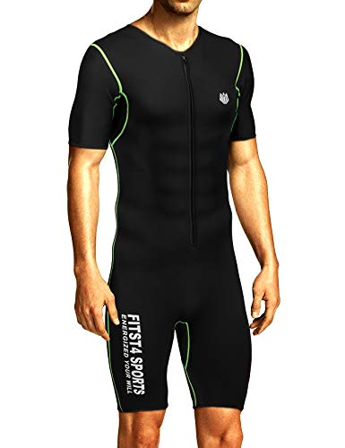 FitsT4 Men's Sauna Suit MMA Neoprene Sweat Shirt Quick Weight Loss Slimming Body Shaper for Fitness Gym Exercise Training (Best Suit For Body Type)
