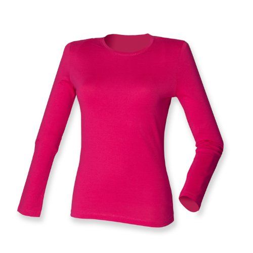 Skinni Fit Frauen Langarm Stretch-T Fuchsia L