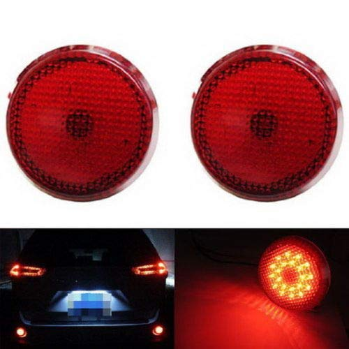 iJDMTOY Red Lens 21-SMD LED Bumper Reflector Lights for Scion xB iQ Toyota Sienna Corolla, Function as Tail & Brake Lamps