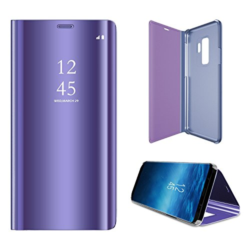 Shinetop Cases for Samsung Galaxy S9 Plus (2018) Luxury Smart Clear View Window Mirror Case Metal Electroplate Plating PC Flip Folio Stand Phone Cover Full Body Anti-scrtach Protective Case - Purple