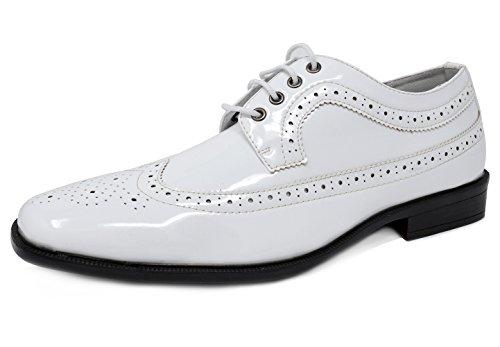 Bruno Marc Menns Seremoni Faux Patent Lær Kjole Oxfords Loafers Sko 1-hvite