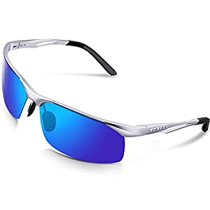 Torege Men's Sports Style Polarized Sunglasses For Cycling Running Fishing Driving Golf Unbreakable Al-Mg Metal Frame Glasses M294 (Sliver&Black Tips&Blue lens)