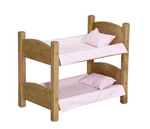 """Amish-Made Wooden Doll Bunk Bed For 18"""" Dolls, Includes Bedding"""