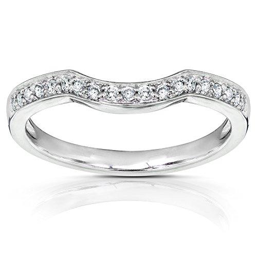 Round Diamond Curved Wedding Band 1/6 carat (ctw) in 14K Gold