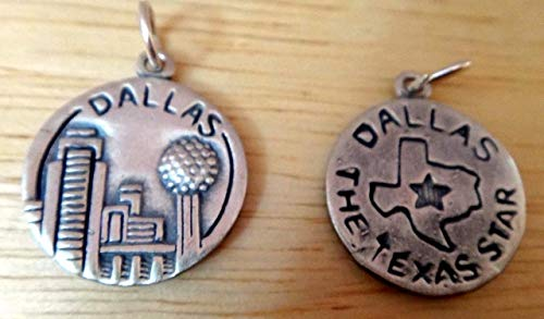 1 Sterling Silver 16mm Round says Dallas, The Texas Star Charm Vintage Crafting Pendant Jewelry Making Supplies - DIY for Necklace Bracelet Accessories by CharmingSS -